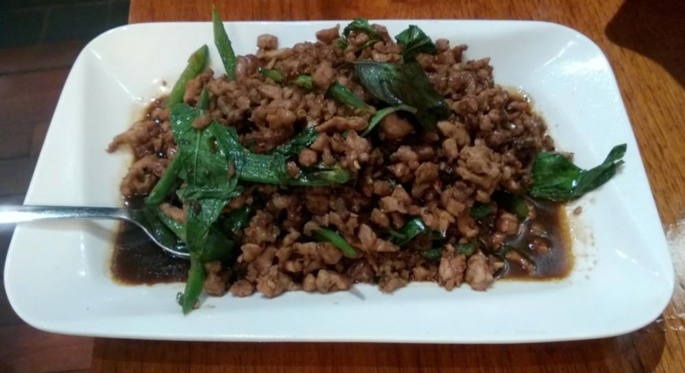 Pad kra praow ping (basil pork)