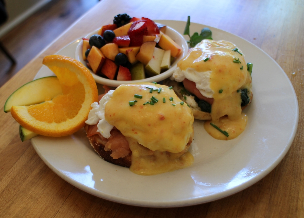 Eggs benedict with house smoked wild salmon