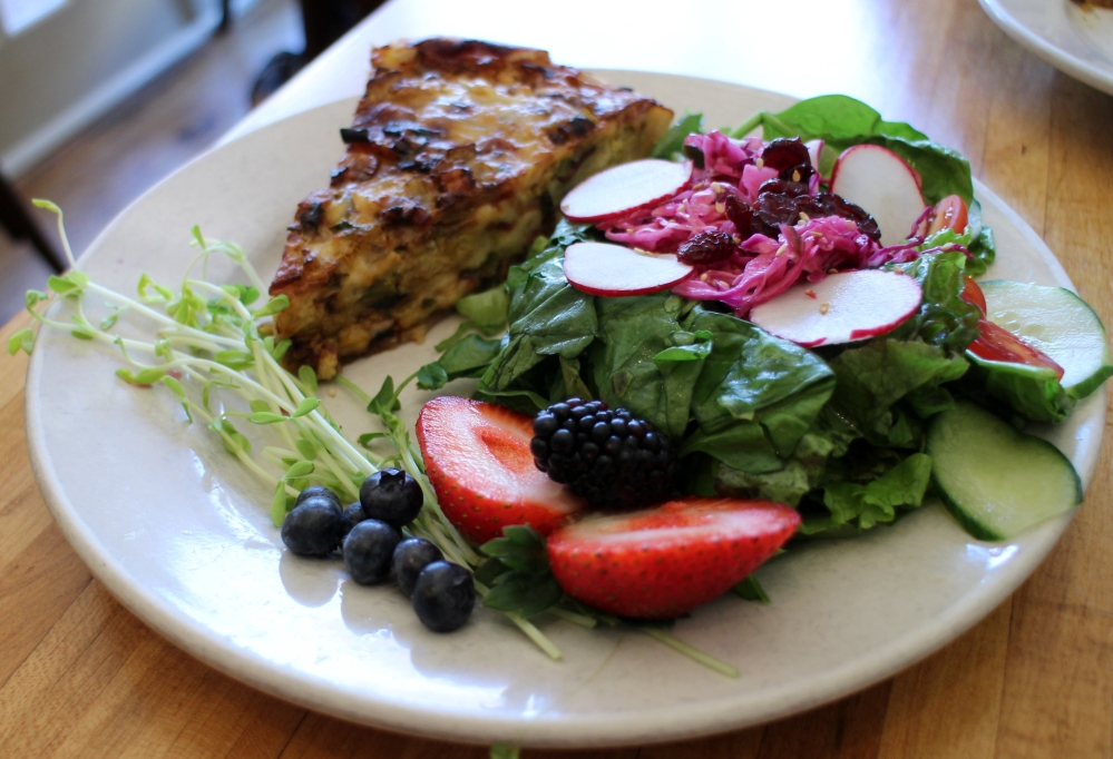 Peasant quiche with field green salad